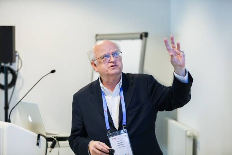 <strong>Thomas Sterling</strong> conducts a tutorial at ISC 2017. He has been the final keynote speaker for the last 13 years, and will cap the conference again on Wednesday, June 21. Courtesy ISC; Philip Loeper.