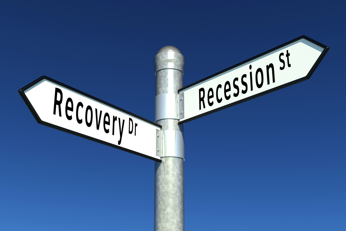 recovery, recession, crash, financial crisis, banks, capitalism, signpost