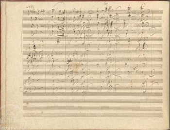 A screenshot from a page of a digitized version of Beethoven's Symphony No.9 in D minor.