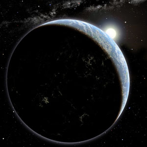 An artist's impression of an Earth-like planet in space, orbiting a star