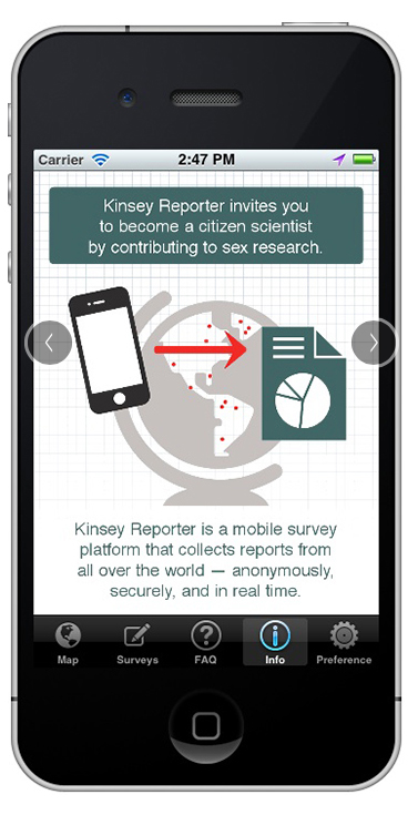 <strong>Sex in 25 languages. </strong> The Kinsey Reporter app has expanded to include 25 languages, bringing access to sex scientists to more citizens of the world. Previously the domain of primarily western, wealthy subjects, sex research can now include input from areas previously overlooked. Courtesy Kinsey Institute, IU SOIC.