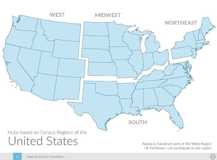 The Big Data Regional Innovation Hubs cover all 50 states and include commitments from more than 250 organizations — from universities and cities to foundations and Fortune 500 corporations — with the ability to expand further over time. Courtesy NSF.