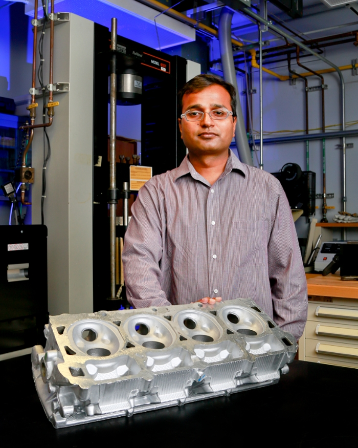 <strong>Aluminum tiger in your tank?</strong> A team of researchers led by ORNL's Amit Shyam is using high-performance computing to speed the development of new high-temperature aluminum alloys for automotive cylinder heads. Courtesy Oak Ridge National Laboratory.