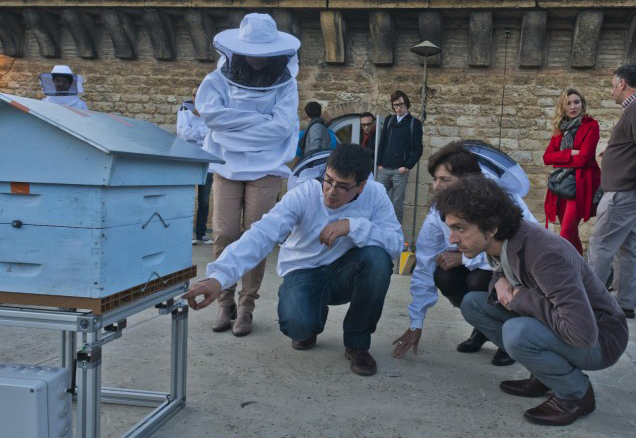 <strong>Bees in the city.</strong> Equipped beehives have been installed on the roof of the Contemporary Museum of Bordeaux by the OpenBeeResarch project. The program is designed to initiate a symbiosis between researchers and beekeepers by providing license-free, open-source systems to facilitate the work of beekeepers and power a public database hosted by the scientists themselves. Courtesy OpenBeeResearch project.