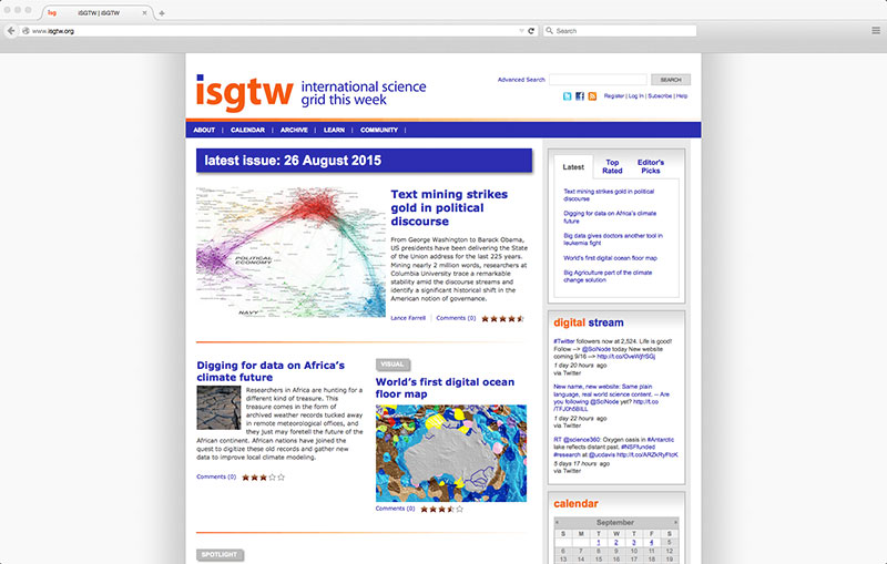 iSGTW screenshot