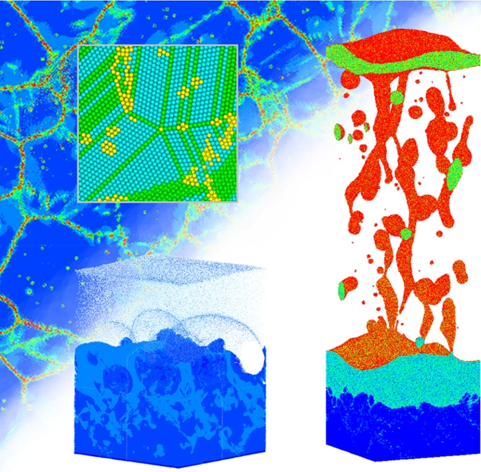 <b>Laser tag.</b> An illustration of some of the results of large-scale atomistic computer simulations of laser-induced modification of silver targets. The simulations make predictions about the surface and explain the experimental observation of surface swelling. Courtesy Leonid Zhigilei.