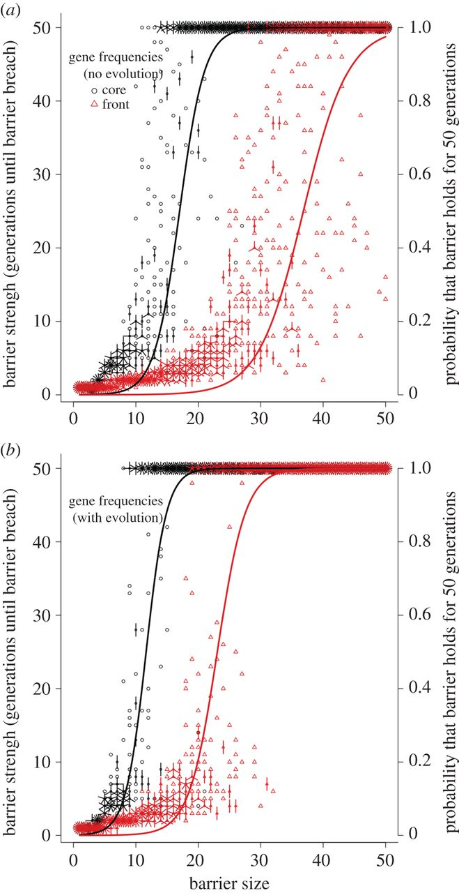 <strong> Harnessing evolution. </strong> New research shows that an invasive species' ability to overcome a barrier varies between core and frontal populations, and is eroded by rapid evolution. (a) shows the situation in non-evolved gene frequencies and (b) shows the situation in which gene frequencies evolve in response to a barrier. Each point is a replicate simulation (with overlapping points denoted by 'petals' around each point), recording the breach time for that simulation. Courtesy Ben Phillips.