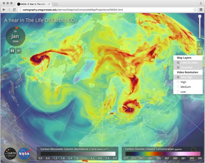 <strong> Blowin' in the wind. </strong> The award for the NSF/Popular Science best interactive visualization went to Bernhard Jenny's update of Bill Putman's 2006 time-lapse video of C0<sub>2</sub> in the atmosphere. Courtesy Bernhard Jenny.
