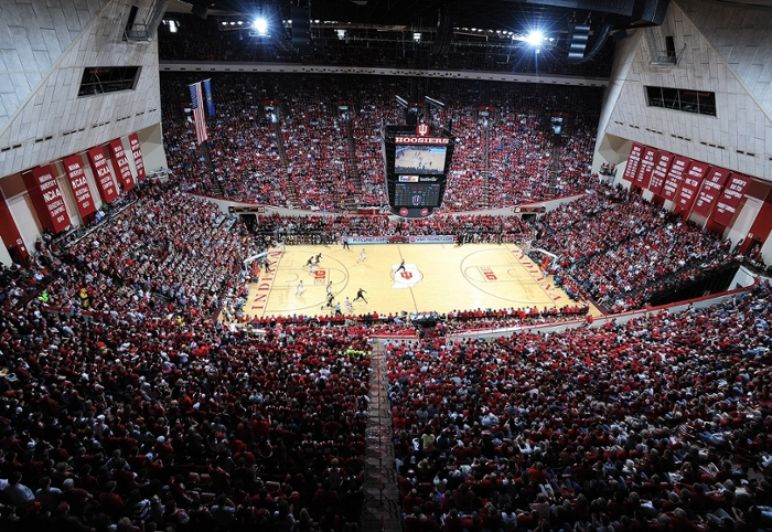 <strong>There's no place like home.</strong> Indiana University's historic basketball arena, Assembly Hall, has witnessed a lot of magic in its time. Now with 360º views of every play, the fan experience is taken to a new level, while coaches and athletes can hone their instruction to an unprecedented degree. Courtesy Indiana University.