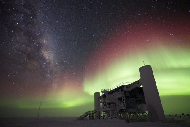 <strong>Priceless.</strong> Some consequences of cyberattacks are impossible to measure. 'If you have a supernova during a security event that effectively takes the detector down, you're never going to get another shot at that one,' says Steve Barnet. Pictured: The IceCube Lab with Milky Way and aurora australis, July 2014. Courtesy Ian Rees, IceCube/NSF.