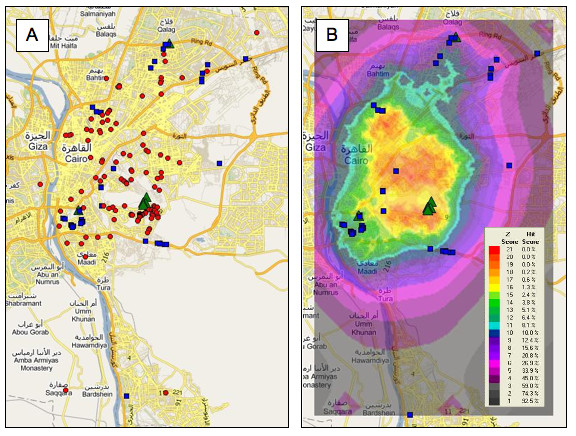 <strong>Walk like an Egyptian.</strong> Map of Cairo showing locations of 139 recorded malaria cases (red circles) and eight water sources that tested positive for the malaria vectors. Geographic profiling identified these locations in minutes, whereas city officials toiled for months. Courtesy Steven Le Comber.