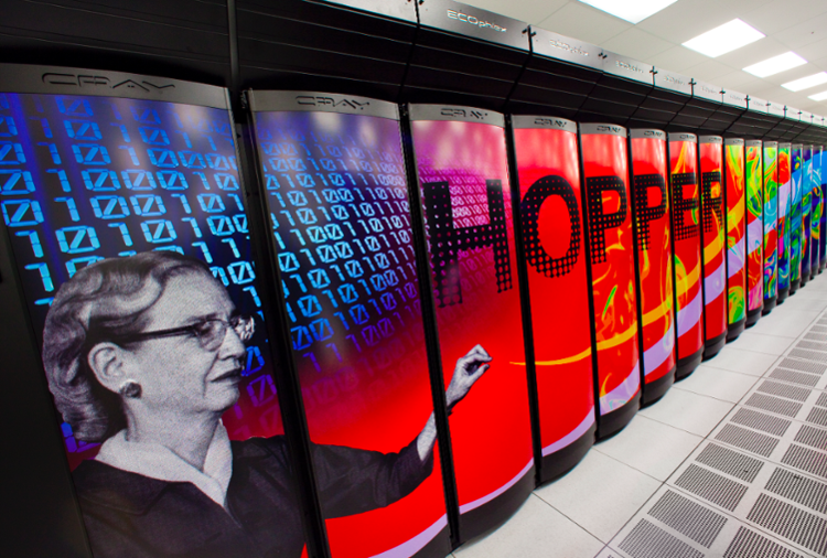 <strong>Amazing Grace. </strong>Hopper was NERSC's first petaFLOP system, a Cray XE6, with a peak performance of 1.28 PetaFLOPS, 153,216 compute cores, 212 TB of memory, and 2 PB of disk. Hopper placed fifth on the November 2010 Top500 Supercomputer list. Courtesy NERSC.