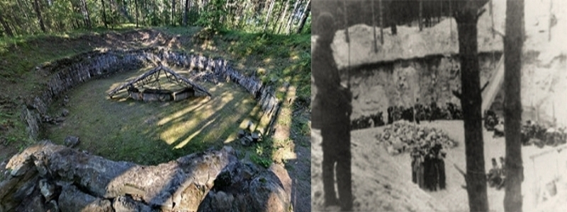 <strong>Then and now. </strong>On the left, the burial pit today where the Burning Brigade made their heroic escape. On the right, photo of the Ponary executions in July 1941, with the ramp leading from the ground level visible between tree trunks. Polish Jews of the Vilna Ghetto are pictured within the pit. Courtesy Chronicles of the Vilna Ghetto.