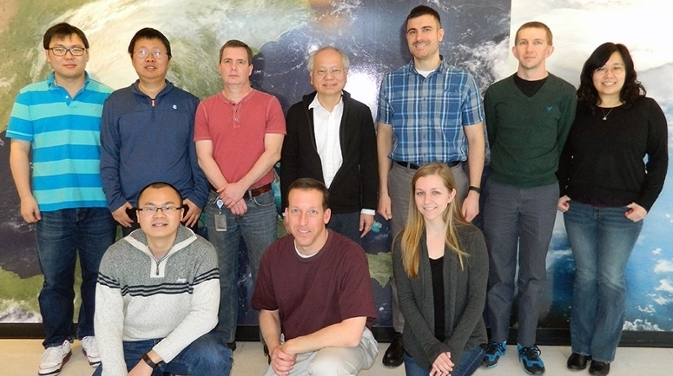 <strong>Meet the FV3 team.</strong> Back row (left to right): Xi Chen, Zhi Liang, Rusty Benson, Shian-Jiann Lin, Matthew Morin, Lucas Harris, and Jan-Huey Chen. Front row (left to right): Linjiong Zhou, Timothy Marchok, and Shannon Rees.