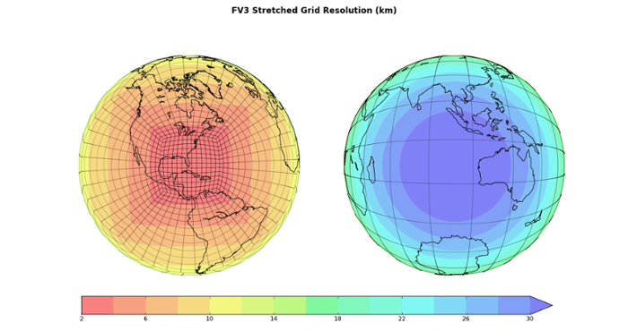 <strong>Change in the weather. </strong>An example of FV3's capability to zoom in on critical weather events. By enhancing the resolution over a specific part of the Earth, NOAA can efficiently choose ultra-high resolution simulations of important areas anywhere around the globe. Courtesy NOAA.
