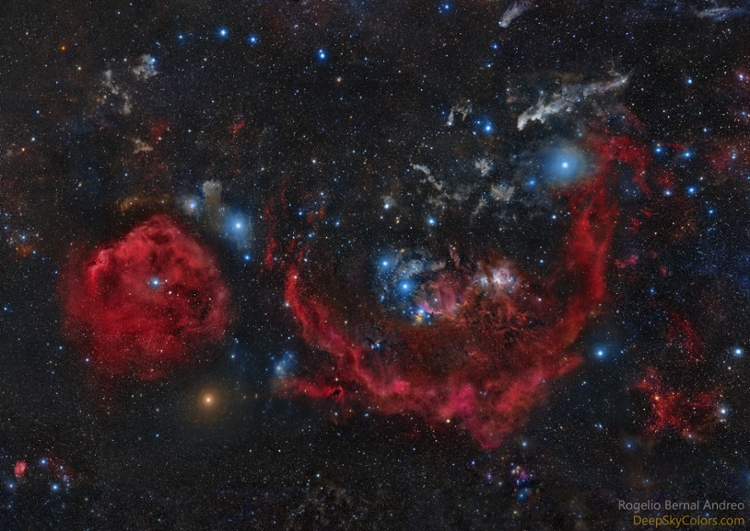 <strong>Clouds of Orion.</strong> This 56 panel mosaic image is the result of 242 hours of exposure time (over 2,000 individual exposures), which means you're looking at 242 hours of light. The field of view is so large that 1,443 moons could fit within. Courtesy Rogelio Bernal Andreo.