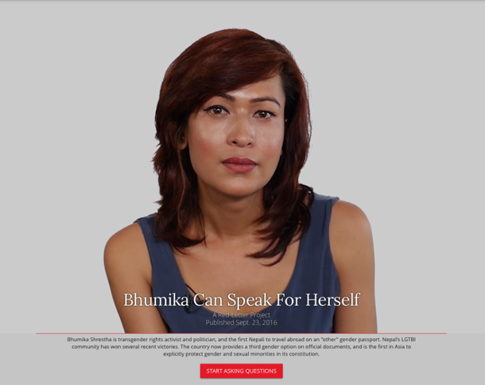 <strong>Outspoken. </strong>Bhumika Shrestha is a Nepalese politician, transgender activist, and the subject of an interactive China Daily Asia Red Letter project. Courtesy Marc Lajoie.