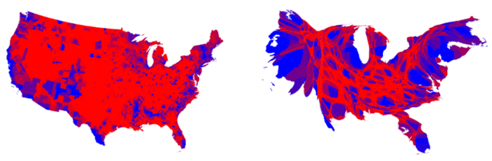 <strong>Blown into proportion. </strong> The map on the left shows voter preference across the US. The cartogram map on the right represents the nation in proportion to its population. Courtesy <a href='http://www-personal.umich.edu/~mejn/election/2016/'>Mark Newman.</a>