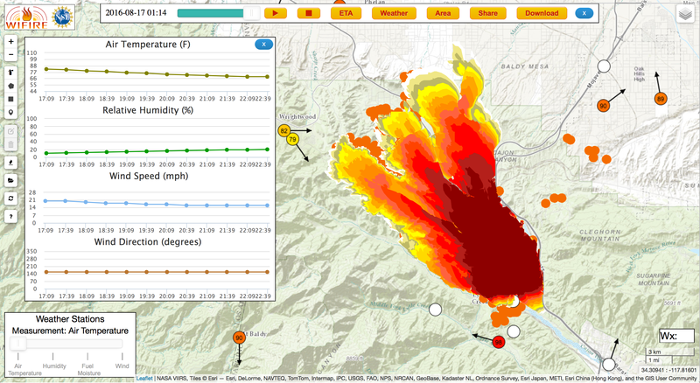 <strong>Firemap</strong> harnesses data and predictive models to make the direction and rate of fire spread known as early as possible to assist in rescue and containment efforts. Courtesy University of California San Diego.