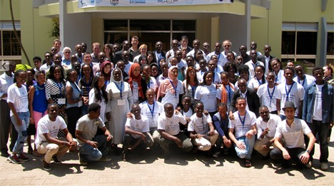 <strong>Class act.</strong> About 70 graduate students attended the African School of Fundamental Physics and Applications in Africa. Courtesy OSG.