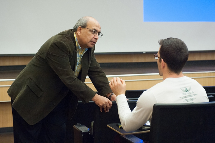 <strong>Learning curve. </strong> Ashok Goel has improved student participation through the use of AI teaching assistants. The program has entered its third semester. Courtesy Georgia Institute of Technology.