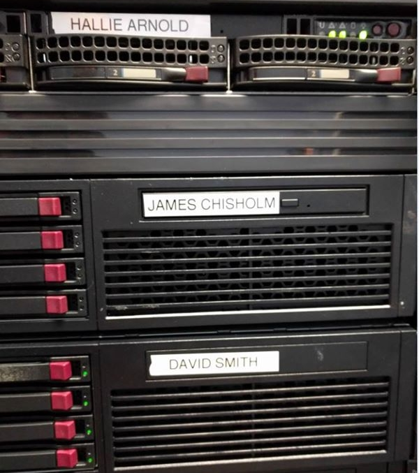 <strong>Personal computing.</strong> Servers at the Canadian-based Cancer Computer show the names of loved ones taken by cancer. Researchers believe computing is the key to finding a cure. Courtesy Cancer Computer.