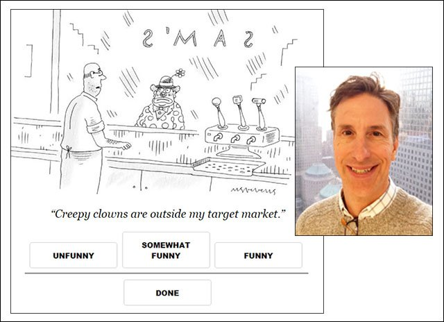 <strong> Fun-gi. </strong> Engineering professor Rob Nowak adapted algorithms used in genetic research to help the New Yorker decide among submitted cartoon captions. Courtesy UW-Madison; ISTHMUS.