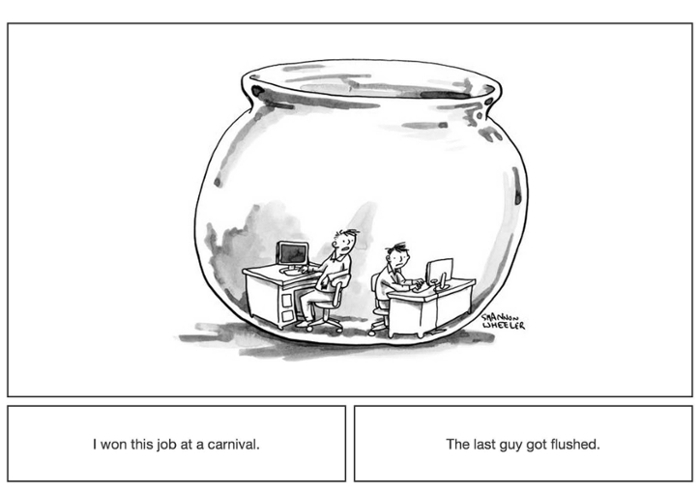 <strong> Computer comedians. </strong> Since 2015, the New Yorker has been looking to computers to simplify their editorial decisions. Courtesy Jamieson, Nowak, et al.
