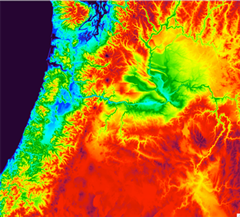 <strong>What color is the wind?</strong> 750 meter High-Resolution Rapid-Refresh model from the WIF2 project region. Courtesy NOAA.