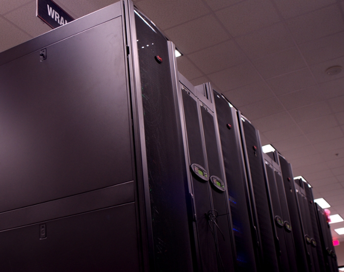 <strong>Wrangler</strong> is a data-intensive supercomputer created in partnership between the Texas Advanced Computing Center, Indiana University, and the University of Chicago. The NSF invested in the Wrangler project, seeking a means to handle large volume, rapid input/output tasks. Courtesy TACC.