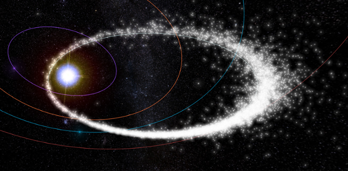 <strong>Star crossed.</strong> Webster's interactive meteor visualization and WebGL help you navigate this December Geminids' visitation in 3D with ease. Courtesy Peter Jenniskens and Ian Webster.
