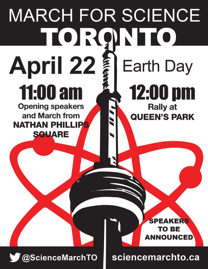 <strong>Democracy is a team sport.</strong> Earth Day is every day, and perserverance is the only path forward for those who want to make sure government honors scientific inquiry. Courtesy March of Science Toronto.