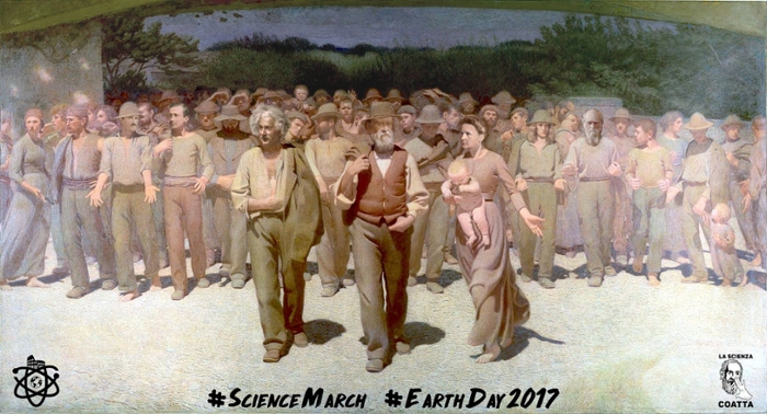 <strong>Shoulders of giants</strong>. To honor the efforts of the scientists who have toiled in previous generations, Italy is taking to the streets on April 22, 2017. Courtesy March for Science, Italy.