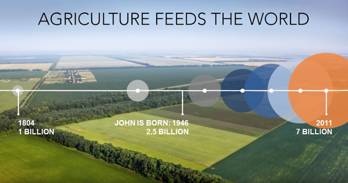 <strong>Outstanding in their field. </strong> The world's population has tripled in our lifetime, while arable land has decreased at a rate of one million acres per year. Precision agriculture uses remote sensing tools to enable farmers to boost their productivity. Courtesy John Nowatzki.