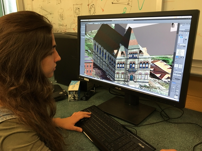 <strong>If you build it, they will come. </strong> A computer science student at Brown University works on a 3D model of the Brown campus. The results will allow an immersive and realistic tour. Courtesy Brown University.
