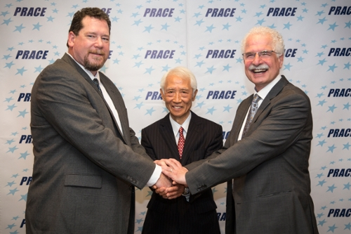 <strong>Citizens, scientists, neighbors. </strong> Barcelona was the site where leaders from three advanced research computing institutions joined forces to increase information exchange and research collaboration. From left: John Towns, Masahiro Seki, and Anwar Osseyran, chair of the PRACE council. Courtesy PRACE; RIST; XSEDE.