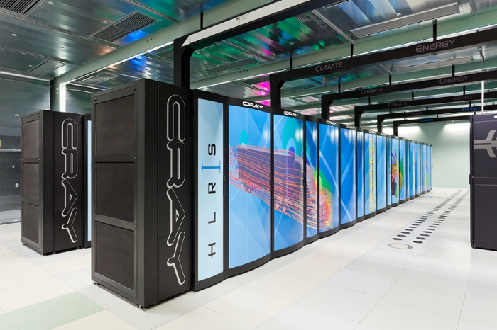<strong>Hazel Hen.</strong> 7,712 compute nodes humming at 7.42 petaFLOPS with 11 petabytes of storage transferring data at 350 GB/second made short work of the Vlasiator models. Courtesy PRACE; High-Performance Computing Center Stuttgart.