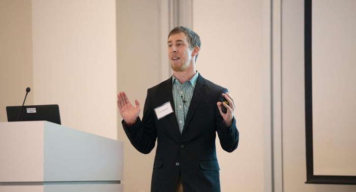 <strong>Home run. </strong> Grad Slam finalist Sam Westreich explained the microbiome and introduced his open source bioninformatics pipeline SAMSA in three minutes. Courtesy Sam Westreich; Gregory Urquiaga; UC Davis.