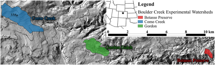 <strong><a href ='http://criticalzone.org/boulder/'>Critical Zone Observatory. </a></strong> Researchers harnessed Jetstream to examine the effects of climate on carbon loading in Como Creek, Gordon Gulch, and Betasso Preserve, three catchments in the Boulder Creek watershed. Courtesy Tyson Swetnam, et al.