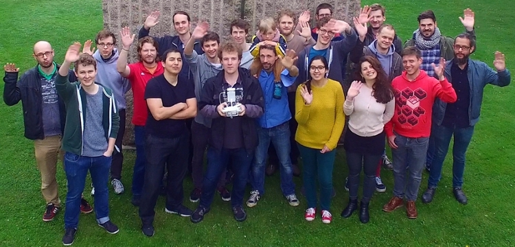 <strong>Mimic masters.</strong> Members of the Biorobotics Lab at Freie Universität apply principles found in natural systems to technical systems in human society. Courtesy Tim Landgraf.