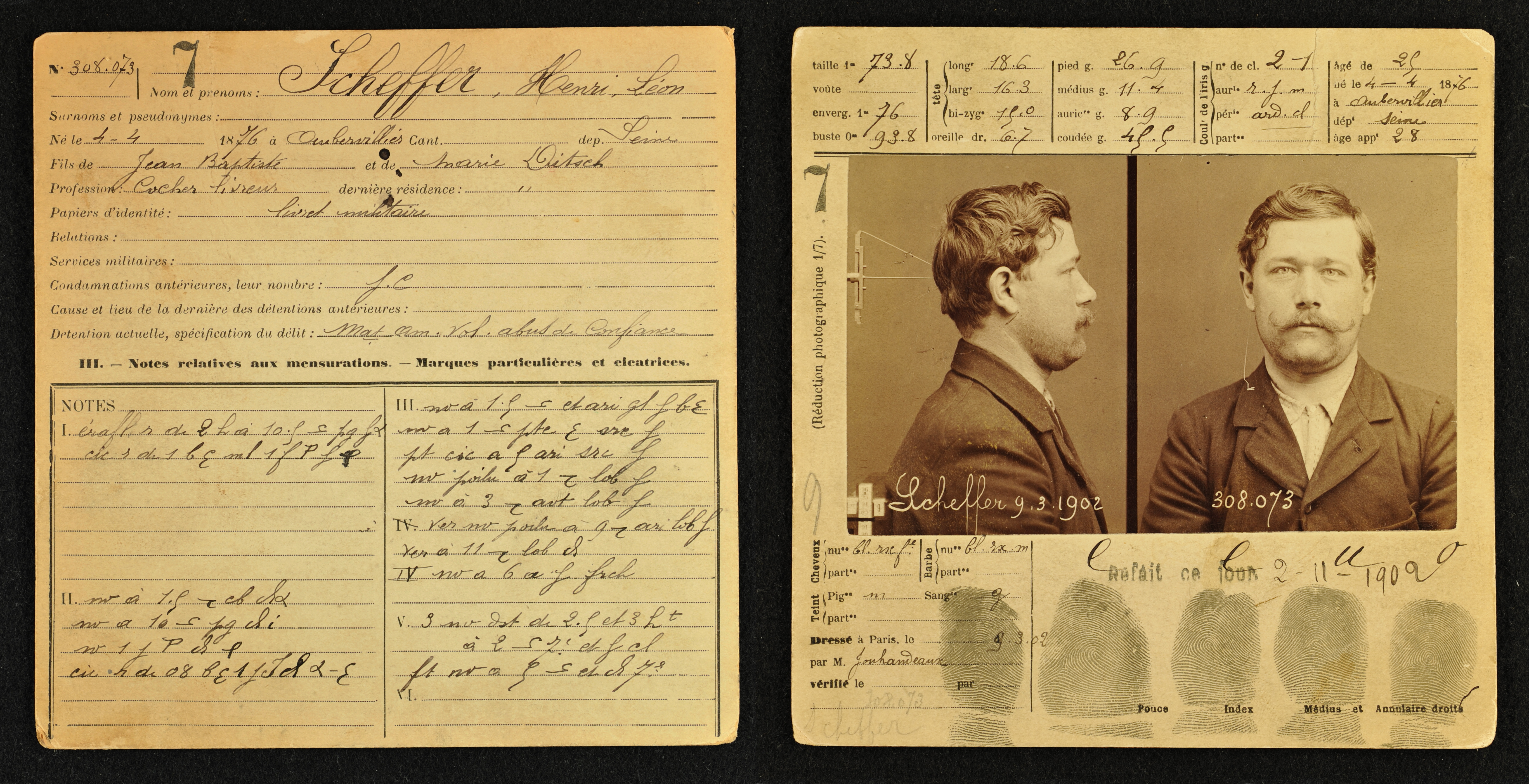 <strong>Wild card.</strong> Bertillon cards contained a record of 14 measurements, notes of body peculiarities, and standardized photographs for easy recognition by law enforcement. Courtesy Head of Service Régional d'Identité Judiciaire de Paris.