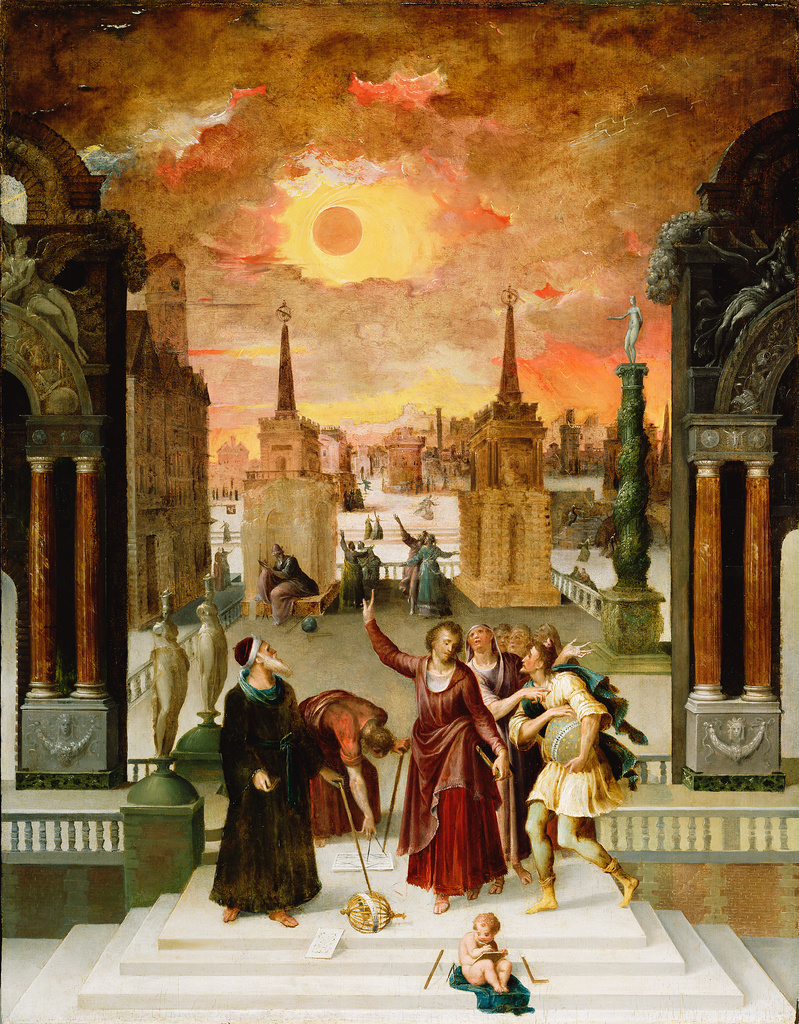<strong>Signs o' the times.</strong> Antoine Caron painted 'Dionysius the Areopagite Converting the Pagan Philosophers,' a rendering of the 1571 eclipse that depicts competing interpretations of the celestial event. Courtesy Getty Open Content Program