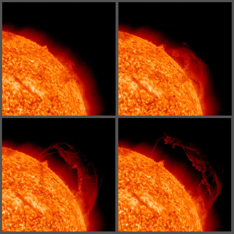 <strong>Hot Stuff. </strong> This eruptive prominence lifted off from the sun on Sept. 15, 2010 and shows off the strands of plasma in exquisite detail. Prominences are cooler clouds of gases suspended above the sun by often unstable magnetic forces. Courtesy NASA; Solar Dynamics Observatory.