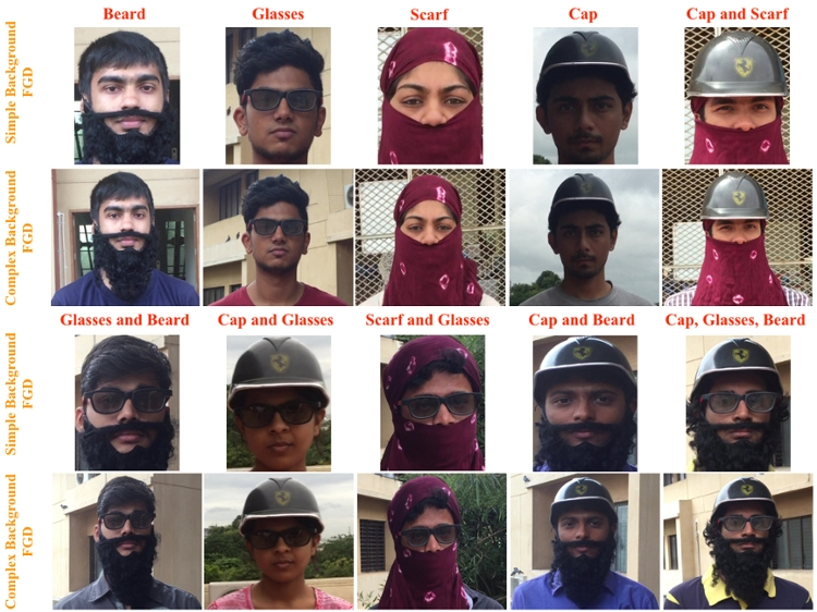 <strong>Face to face.</strong> Sample images from Singh's facial recognition research with different disguises from both the simple and complex datasets. Courtesy Amarjot Singh.