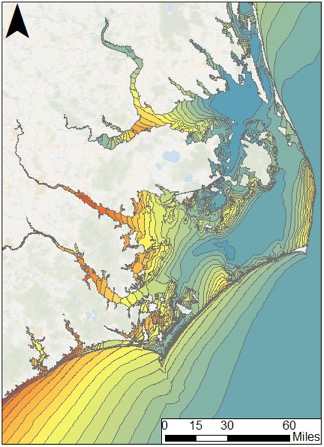 <strong>Welcome, Matt!</strong> Model-predicted storm surge in coastal North Carolina for Hurricane Matthew Advisory 27, which was issued on Oct. 4, 2016, four days before the center of the storm moved past Wilmington, NC. Courtesy RENCI; Seahorse Coastal Consulting.