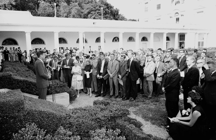 <strong>Give peace a chance. </strong> President John F. Kennedy speaks during a ceremony for the first group of departing Peace Corps volunteers, leaving for Tanganyika and Ghana, in the Rose Garden. Courtesy Cecil Stoughton; White House Photographs; John F. Kennedy Presidential Library and Museum, Boston