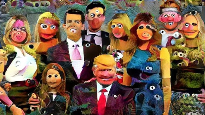 <strong>Cross purposes.</strong> What do you get when you cross Jim Henson's Muppets and the Trump family? The results are unsettling. Courtesy Chris Rodley.
