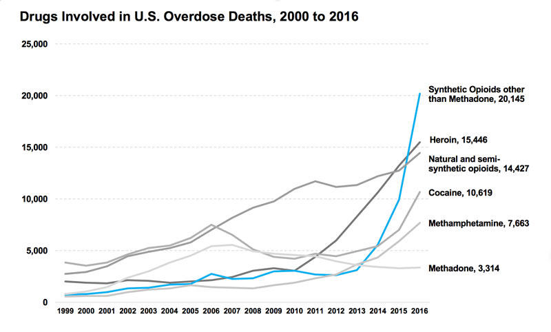 <strong>$64,000 question.</strong> Among the more than 64,000 drug overdose deaths estimated in 2016, the sharpest increase occurred among deaths related to fentanyl and fentanyl analogs (synthetic opioids) with over 20,000 overdose deaths. Courtesy CDC WONDER.
