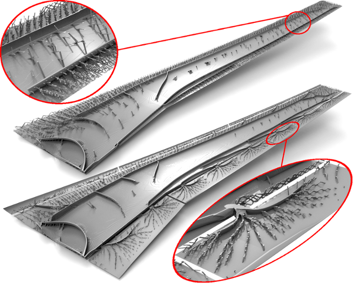 <strong>Little wing. </strong> The result of the giga-voxel morphogenesis process applied to full-scale aircraft wing design is shown after 400 steps of the procedure. All of the intricate details, such as curved spars, truss, and wall structures, appeared spontaneously as a result of the optimization process. Courtesy Niels Aage.