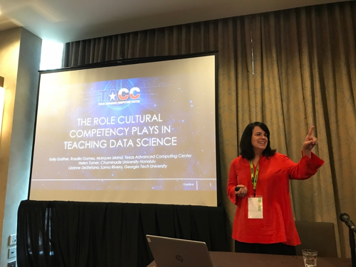<strong>Cultural competency.</strong> Kelly Gaither of the Texas Advanced Computing Center (TACC) outlines cultural barriers to recruiting Native Hawaiian and Pacific Islander students to HPC research.